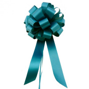 Teal Pull Bows with Tails - 20cm Wide, Set of 6