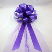 Purple Wedding Pull Bows with Tulle Tails - 20cm Wide, Set of 6