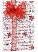 Merry Christmas Red Silver Christmas Gift Wrap Paper - 4.9m Roll