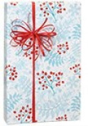 Aqua Blue w/Red Snowflake Berry Sprigs Christmas Gift Wrap Paper - 4.9m Roll