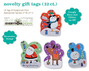 Christmas Gift Tags Embelished Googly Eyes with Glitter and Holiday Present Name Tags 32 Big Hangers in 4 Assorted Designs Santa, Penguin, Snowman, Reindeer,