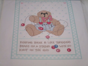 Keeping House is Like Threading Beads on a String With No Knot on the End Stamped Cross Stitch Sampler