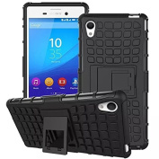 For Sony Xperia M4 DRUnKQUEEn® Aqua Rugged Hybrid Armour Dual Layer Hard Shell Tyre Tread Grenade Grip Combat Tyre Textured Kickstand Case Cover
