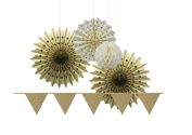 SUNBEAUTY Gold Series Gold Colour Tissue Paper Fans Paper Fan and Gold Glitter Powder Triangle Banner Ivory Honeycomb Balls Pack of 5