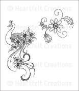 Heartfelt Creations - Peacock Paisley Bundle with 2 Cling Stamp Set + Matching Die + Paper Pack