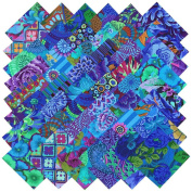 Kaffe Fassett Collective PLUM BLUE BEAUTIES Precut 13cm Cotton Fabric Quilting Squares Charm Pack Assortment Westminster Fibres