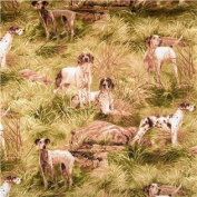 "1/2 Yard - Hunting Dogs ""On the Job!"" 100% Cotton Fabric (Great for Quilting, Sewing, Craft Projects, Throw Pillows & More) 1/2 Yard X 110cm Wide"