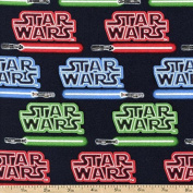 """1 Yard - Star Wars """"Logos & Lightsabers"""" 100% Cotton Fabric - Officially Licenced (Great for Quilting, Sewing, Craft Projects, Throw Pillows, Quilts & More) 1 Yard X 110cm"""