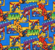 "1/2 Yard - Superman on Blue Cotton Fabric ""Whap! Bam Krack!"" - Officially Licenced (Great for Quilting, Sewing, Craft Projects, Throw Pillows & More) 1/2 Yard X 110cm Wide"