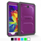 Fintie Samsung Galaxy Tab 4 8.0 Case [CaseBot Tuatara Series] - Rugged Unibody Dual Layer Hybrid Full Protective Cover with Built-in Screen Protector and Impact Resistant Bumper, Purple