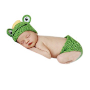 Baby Infant Boy Frog Crochet Hat and Nappy Cover Set Costume Photography Props