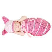 Cute Cartoon Rabbit Style Infant Newborn Hand Knitted Crochet Hat Costume Baby Photograph Props Set - Pink