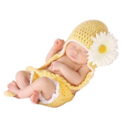 Lovely Sunflower Style Baby Infant Newborn Hand Knitted Crochet Hat Costume Baby Photograph Props Set
