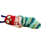 Cute Caterpillar Style Baby Infant Newborn Handmade Crochet Beanie Hat Clothes Baby Photograph Props