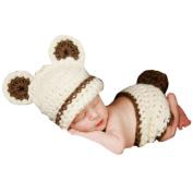 Newborn Cute Dog Handmade Crochet Knitted Unisex Baby Cap Outfit photo prop