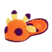 Baby Handmade Crochet Knit Sika Deer Animal Warm Hat Beanie Photograph Props, Orange