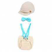 Crochet Baby Boy Cap Beanie with Suspenders Bowtie Nappy Outfit Photo Props