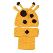 Lovely Handmade Giraffe Theme Woollen Crochet Set Baby Newborn Outfit Photo Prop