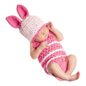 Baby Girl Boy Hat Beanie Knit Cap Photograph Prop Outfit Rabbit Costume Set