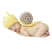 Baby Infant Wool Crochet Knit Snail Style Beanie Hat Outfits Set Photograph Props Cap
