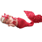 Red Mermaid Baby Costume Photo Photography Prop Knit Crochet