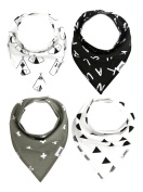 Matimati Baby Bandana Drool Bibs with Snaps for Boys & Girls | 4-Pack Unisex Baby Gift