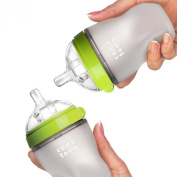 Comotomo Baby Bottle, Green, 240ml, 2 Count