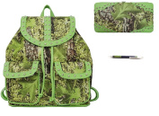 Camo Camouflage Western School Backpack Purse Flat Wallet Pen Set Green