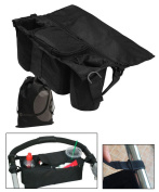 JAVOedge Black Adjustable Clip On Stroller Over the Handle Storage Bag / Holder with Pockets for Bottles, Zipper Pouches