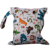 Great Chance Print Patterns Baby Cloth Nappy Waterproof Reusable Zippered Storage Bag Snap Tote Animals Pattern