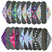 3 Pieces 36cm Overnight Charcoal Bamboo Reusable Mama Cloth/ Menstrual Pads - You Choose 3 From 17 Designs and Send Message to Me