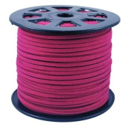BeadsTreasure Cerise Suede Cord Lace Leather Cord For Jewellery Making 3x1.5 mm-6.1m