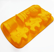 X-Haibei Christmas Soap Mould for Kids Ginger Man Tree Bell Snowman Bear Silicone Mould