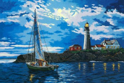 Greek Art Paintworks Paint Colour By Number Kits,Harbour Moonlight lover,41cm by 50cm