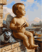 Greek Art Paintworks Paint Colour By Number Kits,Baby Angel,41cm by 50cm