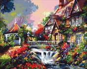 Greek Art Paintworks Paint Colour By Number Kit,Bridge River and Villa styleB,41cm by 50cm