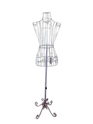 """Female White Steel Wire Mannequin Dress Form 32""""22""""32"""" on Decorative Stand"""