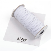 KLOUD City® White 120-Yards Length 0.3cm Width Elastic Cord/ Elastic Band/ Elastic Rope/ Bungee/ Black Heavy Stretch Knit Elastic Spool