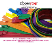 Zipperstop Wholesale YKK®- 80cm Vislon Sport Jacket Zippers for All Special Occasions YKK® #5 Moulded Plastic Separating in Rainbow Colours Mix Is Mixed with 504, 519, 523, 526, 876 and 918 Made in USA