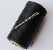 CHENGYIDA BLACK STRONG WAXED HAND SEWING THREAD FOR LEATHER/CANVAS & 2 LARGE EYE NEEDLES