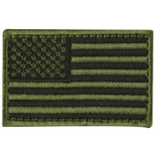Tactical USA Flag Patch - 5.1cm x 7.6cm OD Green hook and loop Back