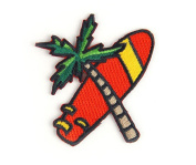 Palm Surf Summer Embroidered Sew or Iron-on Backing Patch