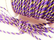 Roll of 25 yards Gold/Purple 2mm Braided Twist Twine Cord Trim (T116-Gold/purple) US Seller Ship Fast
