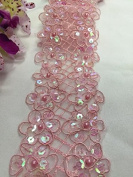 5.1cm Sequined and Corded Bling Trim, 2 Rows, Excellent Quality, 2 Yards, Pink
