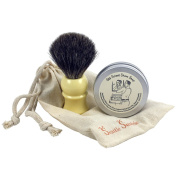 "Travel Shaving Set with ""Old School Shave"" Handcrafted Tallow Shave Soap & Faux Ivory Badger Hair Brush"