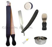 Tan Double Strop Straight Razor Paste Stone Soap Brush Shaving Set 6 Pcs
