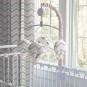 Pink and Grey Chevron Musical Mobile