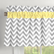 Grey and Yellow Zig Zag Window Valance with Accent Trim
