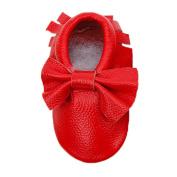 Sunward Prewalker Infant Sweet Bow Tassels Anti-skid Soft Leather Shoes Trainer (S