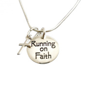 13.1 Half-Marathon Jewellery Running on Faith Double-Sided Charm Duo Necklace